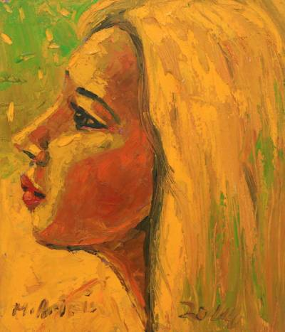 'Girl with Yellow Hair' - Oil Portrait of a Blonde in Yellow