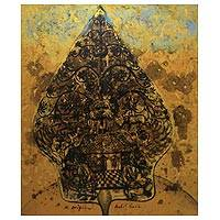 'Gunungan Tree of Life' - Golden Abstract Tree of Life Peace Painting from Java
