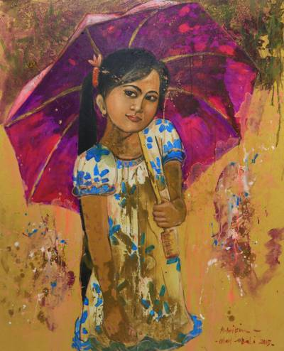 'Cempaka's Purple Umbrella' - Little Girl with an Umbrella Javanese Oil Painting