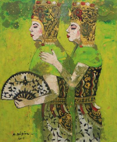 'Gandrung Dancer' - Original Signed Oil Portrait of Rice Harvest Dancers in Bali