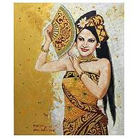 'Beautiful Woman' (2015) - Original Portrait in Oils of a Balinese Dancer