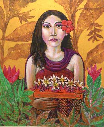 'Picking Flowers' - Woman's Portrait in Colorful Oils on Canvas