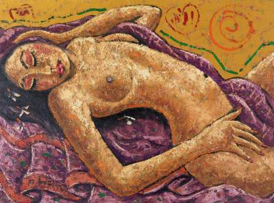 'Tired Nude' (2012) - Original Oil Painting on Canvas of Female Nude from Bali