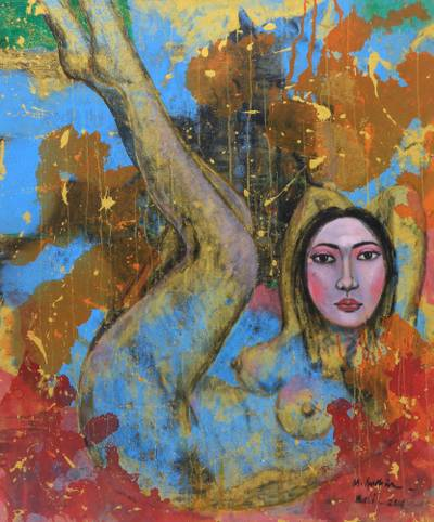 'Happy Nude' (2014) - Original Signed Oil Painting on Canvas of Female Nude