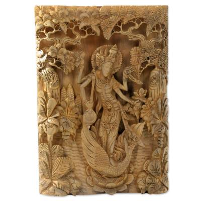 Wood relief panel, 'Hindu Goddess Saraswati' - Balinese Hand Carved Relief Panel of the Goddess Saraswati