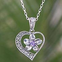 Amethyst pendant necklace, 'Plumeria Heart' - Amethyst and Sterling Silver Floral Heart Necklace from Bali