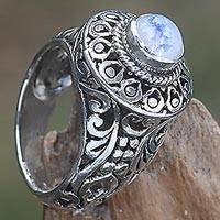 Rainbow moonstone cocktail ring, 'Ocean Moon' - Handcrafted Rainbow Moonstone Gem Sterling Silver Ring