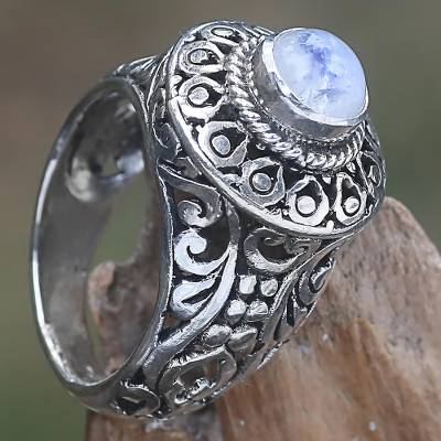 heart diamond ring settings - Handcrafted Rainbow Moonstone Gem Sterling Silver Ring