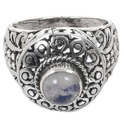 Handcrafted Rainbow Moonstone Gem Sterling Silver Ring