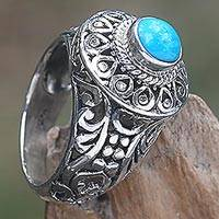 Sterling silver cocktail ring, 'Bali Ocean' - Sterling Silver and Blue Stone Cocktail Ring from Indonesia