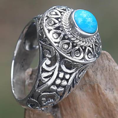 millett custom engraved scope rings - Sterling Silver and Blue Stone Cocktail Ring from Indonesia