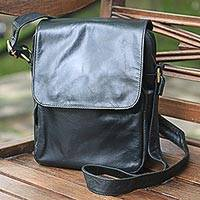 Leather shoulder bag, 'Light Traveler in Black' - Handmade Black Leather Shoulder Bag from Indonesia
