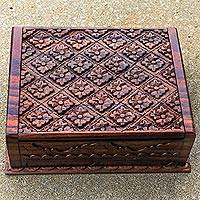 Decorative wood box, 'Water Lettuce' - Hand Carved Wood Decorative Box Lettuce from Indonesia