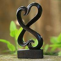 Wood statuette, 'Linked Heart' - Artisan Crafted Heart-Shaped Sono Wood Statuette