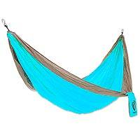 Hang Ten Nylon parachute hammock, 'Sand and Sea for HANG TEN' (double) - Turquoise and Khaki Nylon Parachute Silk Double Hammock