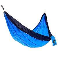 Hang Ten Nylon parachute hammock, 'Navy Wave Wrangler for HANG TEN' (double) - Bright Blue and Navy Nylon Parachute Silk Double Hammock