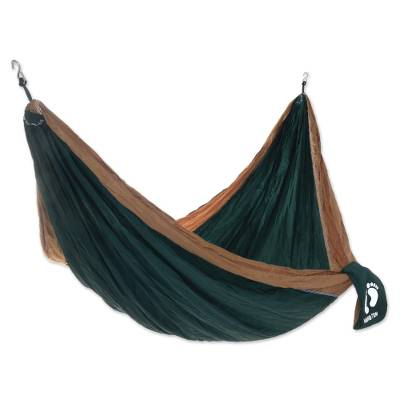 Double Wide Nylon Parachute Silk Hammock in Green and Brown