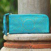 Leather clutch, 'Golden Turquoise Sunflower' - Turquoise Leather Golden Accent Balinese Floral Clutch