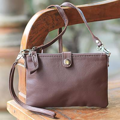 Leather wristlet or shoulder bag, Versatile Chic