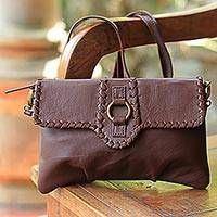 Leather shoulder bag, 'Coffee Brown Boho' - Soft Leather Brown Shoulder Bag with Bronze Fixtures