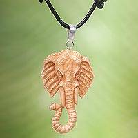 Bone and leather pendant necklace, 'Spirit of the Elephant' - Artisan Crafted Brown Elephant Necklace in Leather and Bone