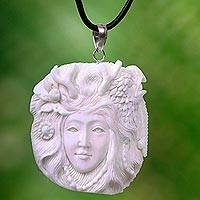 Bone and leather pendant necklace, 'Queen of the Eagles' - Bali Hand Carved Eagle Queen Necklace in Leather and Bone