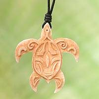 Bone pendant necklace, 'Gliding Turtle' - Turtle Bone Pendant Necklace with Leather Cord from Bali