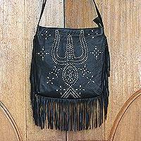 Leather shoulder bag, 'Black Java Stars' - Handmade Fringed Black Leather Shoulder Bag from Bali