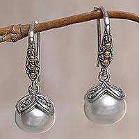 Gold accented cultured pearl dangle earrings, 'White Cherry' - Sterling Silver and Pearl Dangle Earrings from Indonesia