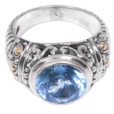 Handcrafted Gold Accent Sterling Silver Ring with Blue Topaz