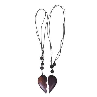 Wood pendant necklaces, 'My Heart is Yours' (pair) - Romantic Sono Wood Heart Pendant Necklace Pair from Bali