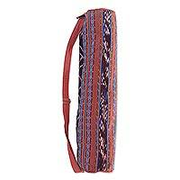 Cotton yoga mat bag, 'Troso Dusk' - 100% Hand Woven Cotton Lined Yoga Bag with One Inner Pocket