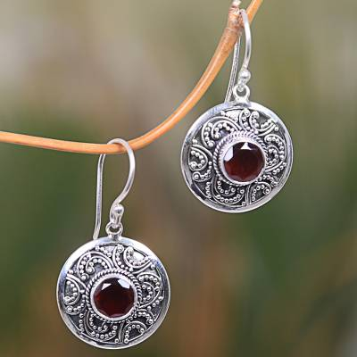 Garnet dangle earrings, Balinese Aura