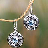 Blue topaz dangle earrings, 'Balinese Aura' - Traditional Balinese Silver Earrings with Blue Topaz