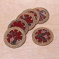 Batik cotton and ate grass coasters, 'Lombok Taste in Red' (set of 6) - Handmade Batik Cotton Coasters from Indonesia (Set of 6)