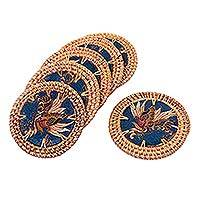 Natural fiber and cotton batik coasters,