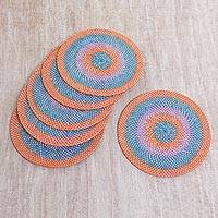 Woven placemats, 'Lombok Beach Party' (set of 6) - Hand Woven Bamboo Placemats Orange Blue (Set of 6) Indonesia