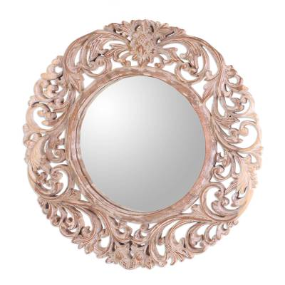 Engraved Floral Motif Whitewash Round Wood Mirror