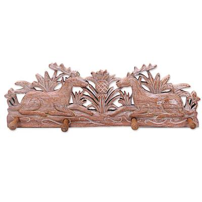 Wood coat rack, 'Reposing Reindeer' - Hand Made Wood Coat Rack with Reindeer from Indonesia