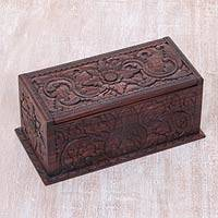 Wood decorative box, 'Rainforest Flowers' - Hand Carved Balinese Sono Floral Decorative Box