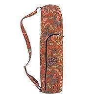 Cotton yoga mat bag, 'Tiga Negeri' - Batik Flowers on Cotton Yoga Mat Bag Artisan Crafted