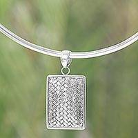 Sterling silver choker, 'Woven Silver Rattan' - Artisan Crafted Modern Sterling Silver Necklace from Bali