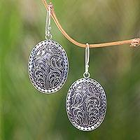 Sterling silver dangle earrings, 'Fern Connections' - Handcrafted Sterling Silver Oval Dangle Earrings from Bali