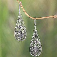 Sterling silver dangle earrings, 'Silver Swing' - Sterling Silver Dangle Teardrop Earrings Made in Indonesia