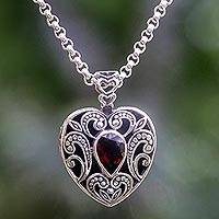 Garnet pendant necklace, 'Heart of Scarlet' - Bali Garnet Heart Necklace Handcrafted in Sterling Silver