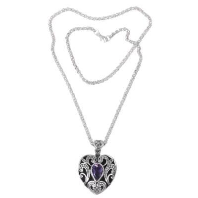 Amethyst Handcrafted Sterling Silver Heart Necklace