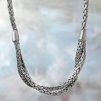 Sterling silver chain necklace, 'Inseparable Duo' - Hand Made Sterling Silver Chain Necklace from Indonesia