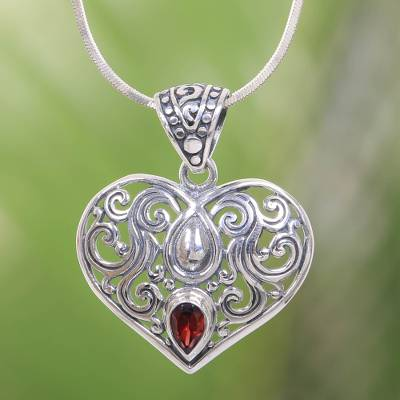 Garnet pendant necklace, Tears from the Heart