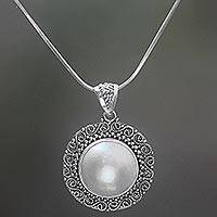 Cultured mabe pearl pendant necklace, 'Moonlight Corona' - Hand Made Cultured Mabe Pearl Pendant Necklace Indonesia
