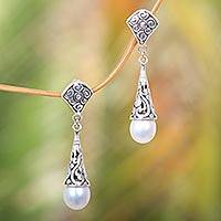 Cultured pearl dangle earrings, 'Lotus Bud Promise' - Balinese Cultured Pearl Earrings Crafted of Sterling Silver